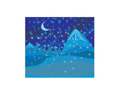 Beautiful wintry landscape with night sky, mountains and light m