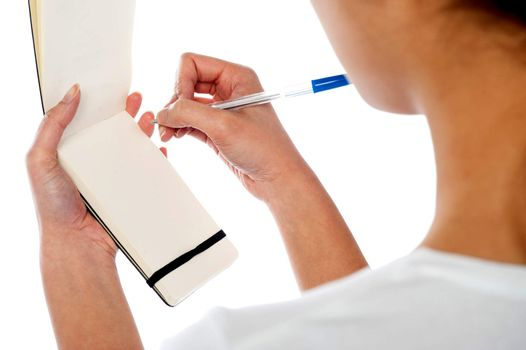 Waitress writing down customers order