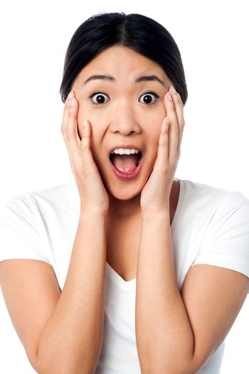 Surprised girl with wide open mouth