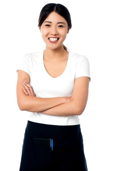 Portrait of smiling asian waitress