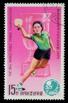 NORTH KOREA - CIRCA 1979: a stamp printed by North Korea shows ping-pong players. World table tenis championship in Pyongyang, circa 1979