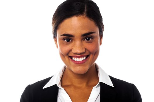 Smiling businesswoman looking at you
