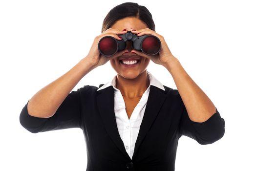 Female executive eyeing on you
