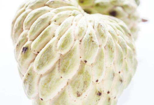 Close up peel texture of unripe custard apple