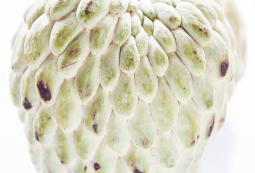 Close up peel texture of custard apple