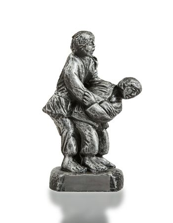 Very old trophy in the shape of two man, judo