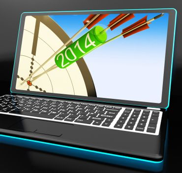 2014 Arrows On Laptop Showing Festivities And Celebrations