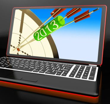 2013 Arrows On Laptop Shows Aimed Plans And Resolutions
