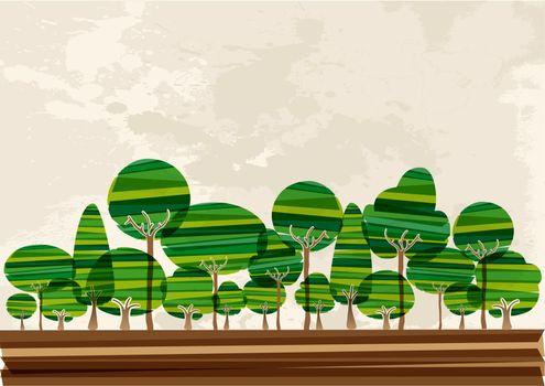 Multicolor forest landscape