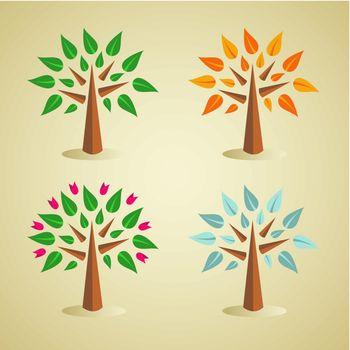 Colorful seasonal tree set
