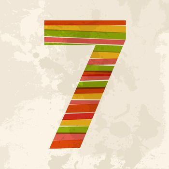 Vintage multicolor number seven
