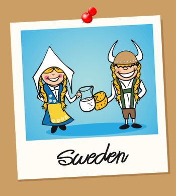 Sweden travel people in instant photo frame