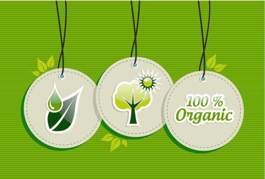 Hanging green tree sun  icons set