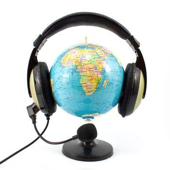 globe and headphone