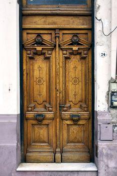 brown old door in  argentina