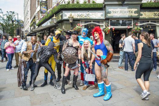 LONDON, UK - JUNE 29: Participants at the gay pride posing for p