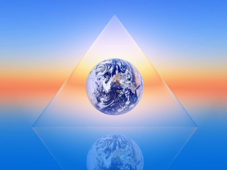 the planet earth inside a triangular shape