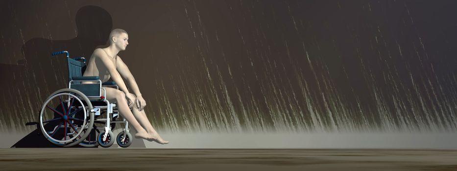 Loneliness of handicap - 3D render