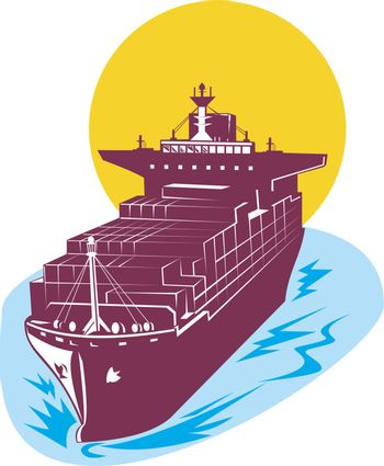 illustration of a container cargo ship done in retro style