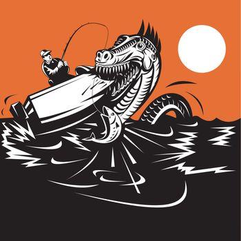 fisherman fishing and sea serpent
