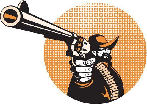bandit cowboy pointing a revolver hand gun