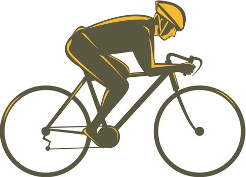 cyclist riding bicycle viewed from side