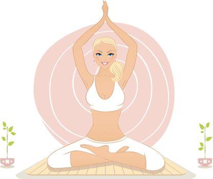 Vector illustration of Beautiful woman doing yoga exercises