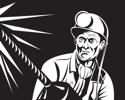 illustration of a miner with jack drill at work done in retro woodcut style
