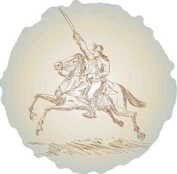 American revolution soldier riding horse