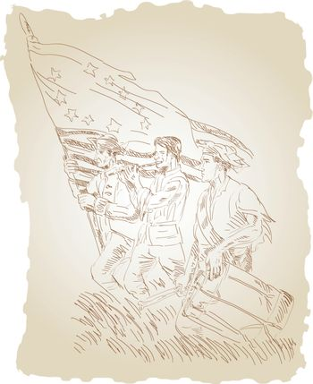 American revolution soldier patriot marching with flag