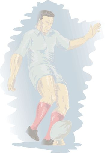 illustration of a rugby player kicking the ball on isolated background done in retro woodcut style