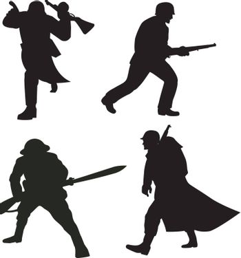 illustration of a silhouette of a soldier attacking with bayonet rifle,marching  on white background