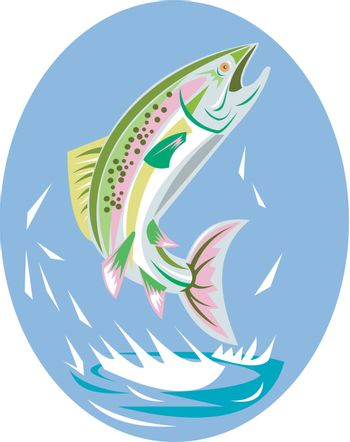 illustration of a trout fish jumping done in retro style