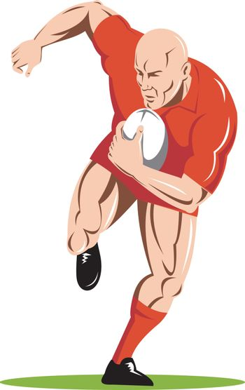 illustration of a rugby player running passing the ball on isolated background done in retro woodcut style