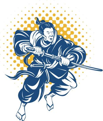 illustration of a Japanese samurai warrior fighting with katana sword on isolated background
