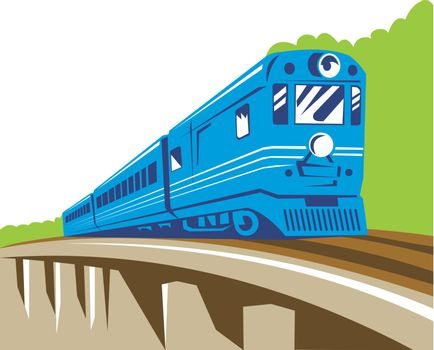 illustration of a diesel train locomotive coming up on railroad viaduct done in retro woodcut style