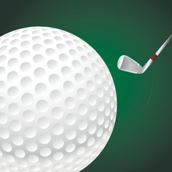 Vector illustration of a golf ball on green background