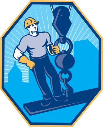 Illustration of construction worker riding on i-beam girder with ball hook done in retro style set inside hexagon