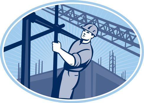 Illustration of construction worker working on scaffolding with buildings in background set inside oval done in retro style.