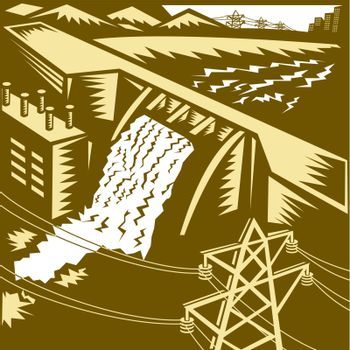 Illustration of a hydroelectric hydro energy generation dam with pylons and buildings done in woodcut style.