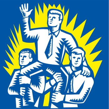 Illustration of a businessman being prop up on shoulders of fellow workers colleague facing front done in retro woodcut style.