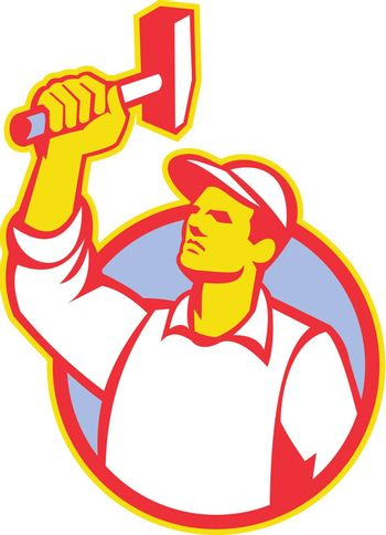 Illustration of a union worker with hammer done in retro style.