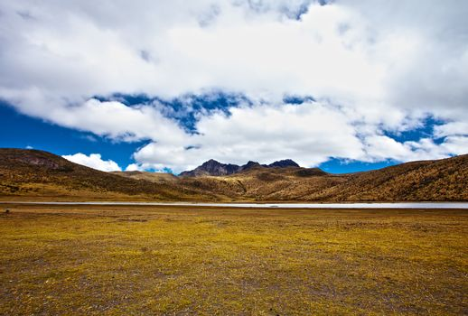mountains and lake in the Cotopaxi National Park