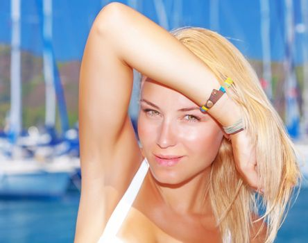 Attractive female in yacht port