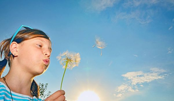 girl blowing dandelion, blue sky in sunset