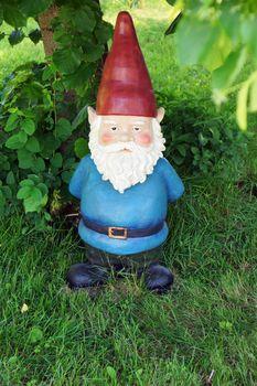 Garden gnome looking at camera