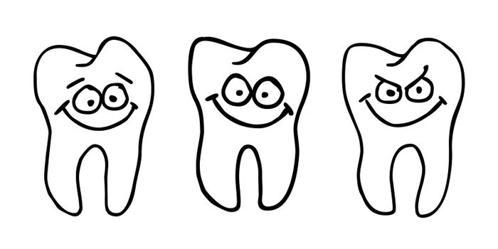 funny tooth with comic face - illustration