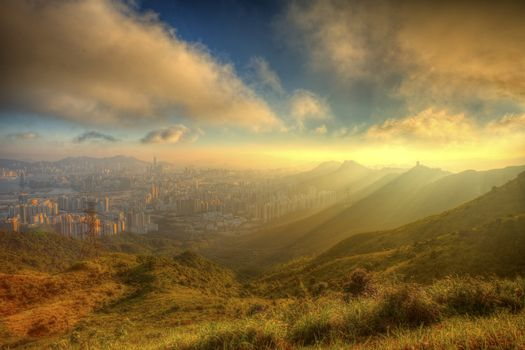 Mountain sunset in Kowloon, Hong Kong.