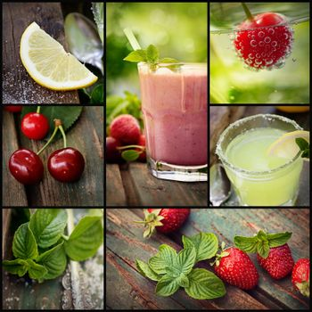 Fruit drinks collage