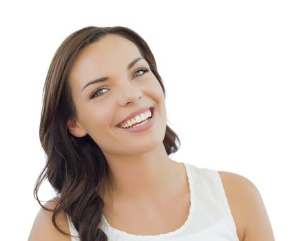 Attractive Young Adult Woman Headshot Portrait Isolated on a White Background.